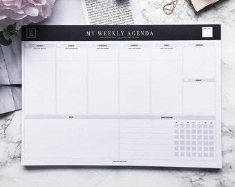 My Weekly Agenda | A4 Deskpad | Weekly Planner | Undated Planner