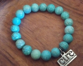 BELIEVE-Turquoise Bracelet: For Childhood Cancer-