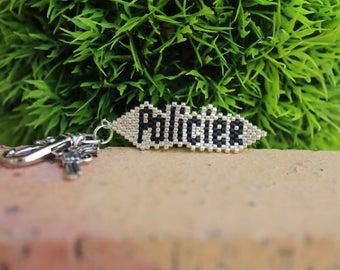 "Keychain ""police"" miyuki beads"