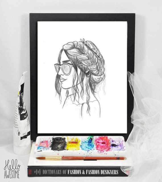 Sofia Braid Modest Fashion Illustration 5x7 Print