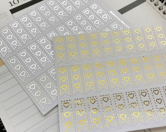 Foiled 3-Heart Checklist Planner Stickers || 30 Stickers