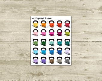 Work Out Kettlebell Planner Stickers (25 Stickers)