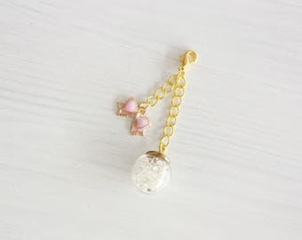 Crystal ball with pink bow planner charm