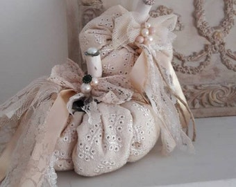 Vintage Pumpkins of fabric and lace 2 pieces