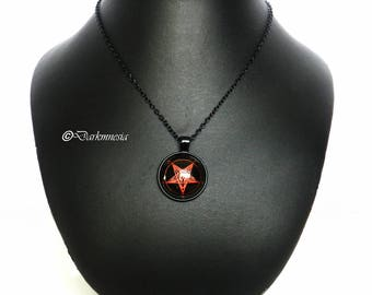 Necklace, black, red, cabochon, devil, baphomet, satan, gothic, satanic, occult, satanism