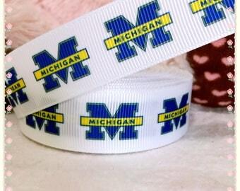 "3 yards 7/8"" U of M grosgrain ribbon, University of Michigan ribbon, Go Blue ribbon, Michigan wolverines ribbon, Michigan football ribbon"