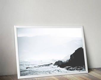 Beach print, Beach photography, landscape photo,  beach wall art, coastal decor, ocean print,mountain print, stones, ocean landscape, rocks