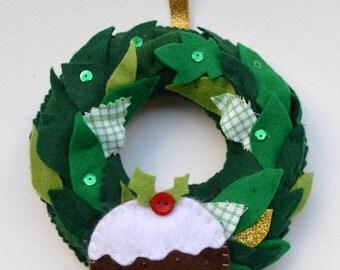 small christmas wreath, christmas wreath, mini wreath, christmas pudding wreath