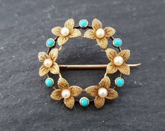 Victorian 15ct Yellow Gold Pearl & Turquoise Circle Flower Brooch