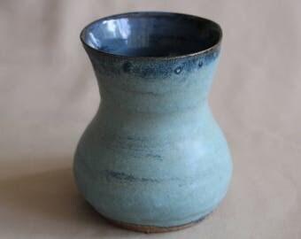 Blue Vase, Handmade, Wheel thrown, Pottery, Ceramic Vase, Flower pot, Planter, Canister, Jar, Rustic, Unique, Matte blue, Housewarming, Gift