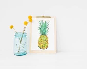 Pineapple watercolor art | Pineapple art | Pineapple painting | pineapple watercolor | tropical art | beach art| fruit art | fruit painting