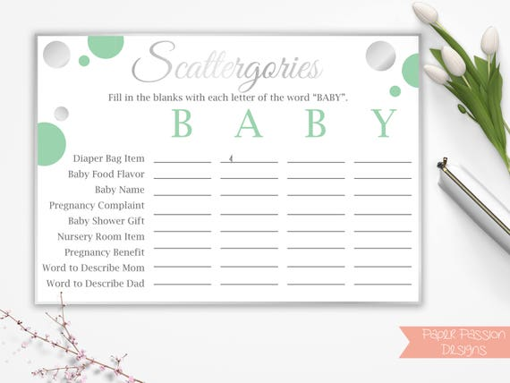 baby shower scattergories mint green and silver baby shower game
