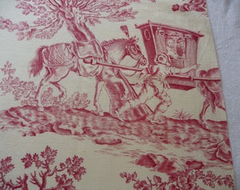 Vintage French toile fabric/ red on white/french vintage fabric/country scenes