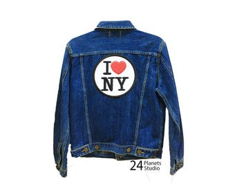 Large I Love NY New York Large Iron on Patch by 24PlanetsStudio Jacket Patch