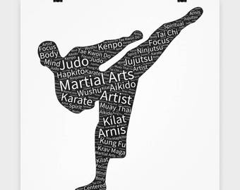 """16"""" x 16"""" Poster Martial Arts Practice Cool Sports Lover Poster Gift for Kung Fu Judo Kenpo Tai Chi MMA Aikido Wall Art Bedroom Poster"""