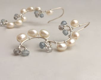 Sterling Silver, Blue Grey Semi Precious Stones, White Freshwater Pearl Wire Earrings, Wedding Jewelry