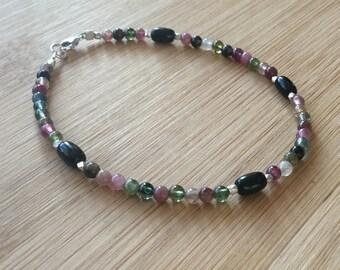 Multi Color Tourmaline Bracelet, Tourmaline Jewelry, Beaded Bracelet, Stacking Bracelet, Hill Tribe Silver Bracelet, October Birthstone