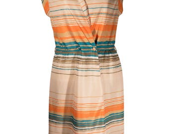 Leslie Fay Sleeveless Striped Vintage Dress