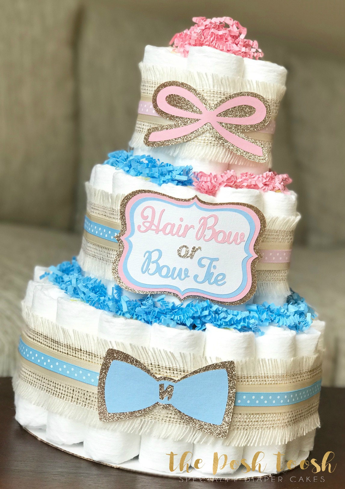 Gender reveal party diaper cake neutral blue pink hair bow or