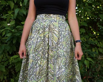 "Mode O' Day Pretty 40s 1940s 1950s 50s Novelty ABSTRACT Print Skirt Circle True Vintage Cotton  Small / Medium 25"" Waist"