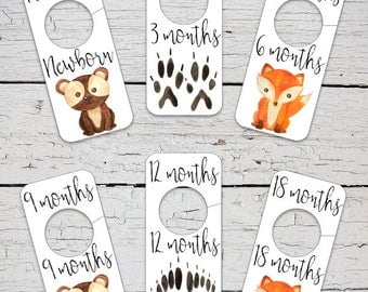 Baby Closet Dividers | Woodland Animal Nursery Decor |  Wild Animal Nursery Decor | Printable Closet Dividers | Baby Clothes Dividers