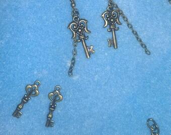 Choose Two Styles Ornate Key Earrings Vintage Feel Steampunk metal keys bronze Key Collection