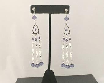 Purple and silver chandelier earrings, Chandelier stud earrings, tanzanite Swarovski earrings, Swarovski earrings, long earrings