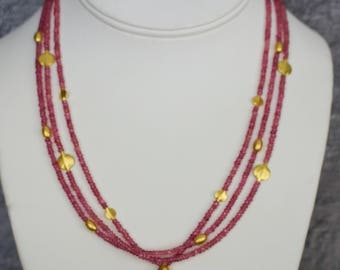 genuine Pink Sapphire with 18k solid Gold Necklace.