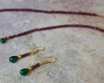 Strand of Faceted Rhodolite Garnet with Emerald Briolettes and Vermeil Necklace with Matching Earrings.