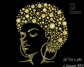 Beauty afro girl lady Svg dxf studio3 file Make Your Own Shirt or card DIY