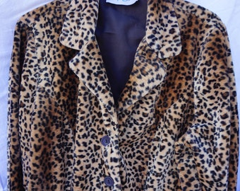 Leopard Print Coat - Faux Leopard Print Coat, Animal Print Coat, Vintage, Vintage Coat, Fashion, Winter, Coat, Jacket, Womens