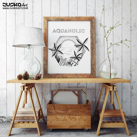 Aquaholic | Enhanced Matte Paper Poster | Palm trees | Tattoo style | Original artwork | Ocean sunset | ZuskaArt