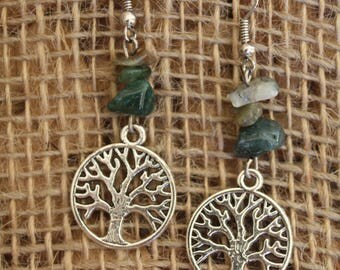 Tree of life and stone earrings