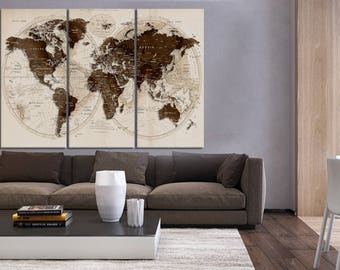 set of 3 panel world map push pin wall art canvas trave world map home