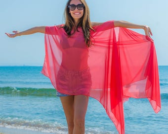 Beach coverup dress, Swimsuit cover up tunic, Beach tunic in pink, Summer coverup tunic, Plus size poncho coverup, Chiffon poncho oversized
