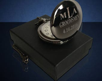 Personalized Pocket Watch - both sides engraved - Best man gift - Usher and Groomsmen gift - Wedding gift - monogram gift