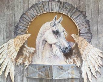 Original artwork - winged horse - mixed media 3D painting - Pegasus - unicorn - original watercolour - horse art