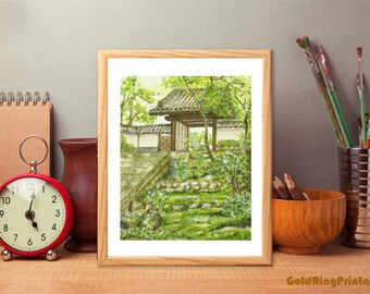 Printable Landscape art,Japense garden,nature,downloadable,décor poster,printable wall art print,instant digital download,green brown