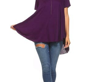 Women's Purple Flowy Tunic, High Low Top, Short Sleeve, Flowy, Ladies Swing Tunic, Size S M L XL - Made in USA
