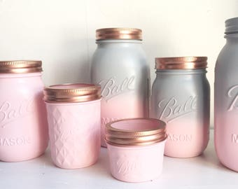 Grey & Blush Pink Ombrè Mason Ball Jars - Vase - Makeup organisation - Tea Coffee and Sugar