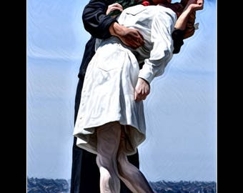 Unconditional Surrender ~ Romantic Statue ~ Kissing Statue ~ Military Kiss ~ Photography ~ Wall Art ~ Digital Print ~ Home Decor ~ Framed