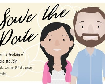 Personalised Cartoon Save The Date Card - A6 sized card or digital file
