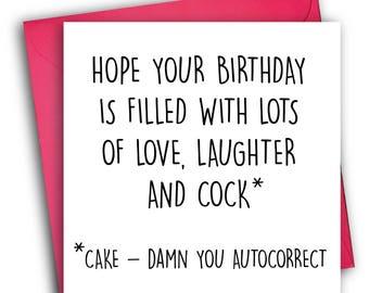 Funny Birthday Card/ Rude Birthday Card/ Autocorrect