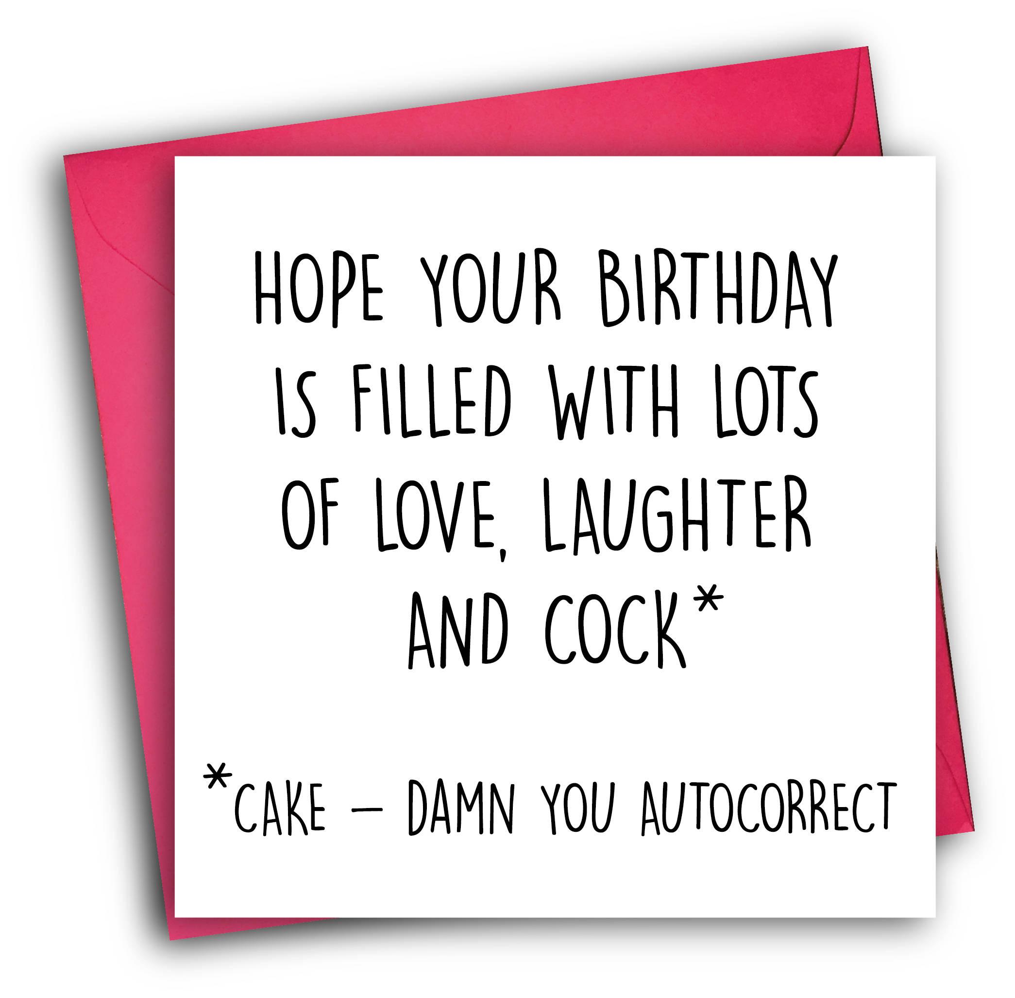 Funny Birthday Card Rude Birthday Card Autocorrect