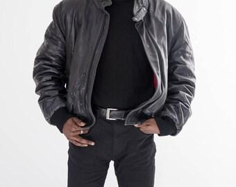 80s Vintage Oversized Black Leather Jacket