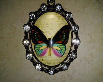 """BUTTERFLY PENDANT NECKLACE - Beautiful large butterly pendant - 16"""" thick black cord with magnetic hook."""