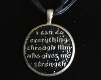 RELIGIOUS FAITH PENDANT  - One of my favorite!  This pendant is on a multi-stranded necklace - cords/ribbon - 18 inches - Very Classy!