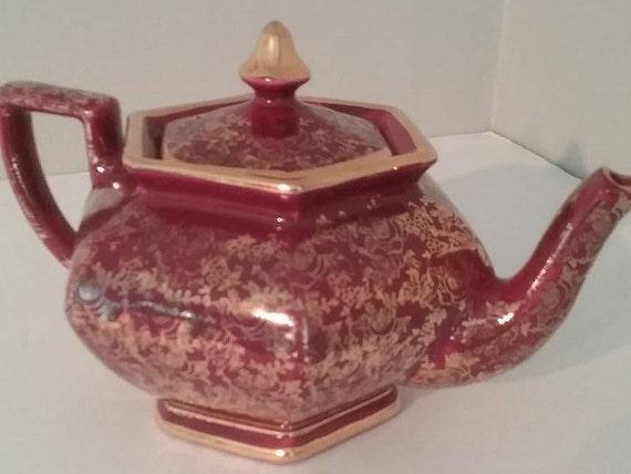 Arthur Wood Hexagonal Burgundy Red Teapot, Guilt Gold Ivy Pattern 4160, Arthur Wood China Teapot Circa 1940/50's, Vintage China Gift, Xmas
