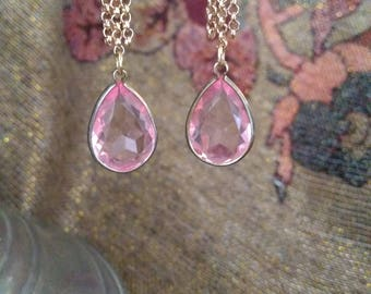 Pink crystal with an edge