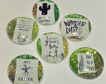 Cactus Magnets - Pack of 6 - Ultra Sparkle -  Fridge magnets / Office magnets / Home accessory / Cactus Decor / Cactus Pins